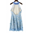 Sexy Open Straps Zip Back Halter Sleeveless Lace Mini A-Line Dress