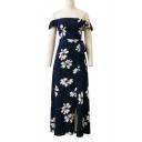 Off The Shoulder Short Sleeve Zip Back Bow Waist Slit Front Floral Printed Maxi Dress