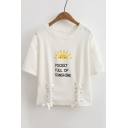 Women's Lace-Up Grommet Front Letter Cartoon Printed Short Sleeve Round Neck Cropped Tee