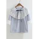 New Stylish Drawstring Round Neck Lace Patchwork Half Sleeve Blouse Top