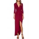 New Arrival Plunge Neck Long Sleeve Knotted Waist Split Front Plain Maxi Dress