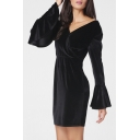 New Fashion V Neck Long Sleeve Ruffle Cuff Open Back Mini Plain Pencil Dress