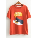 Lovely Cartoon Cat Egg Printed Round Neck Short Sleeve Summer's Graphic T-Shirt