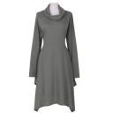 Fashion High Neck Long Sleeve Plain Midi Sweater Dress