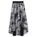 Stylish Chiffon Elastic Waist Pants with Printed Apron