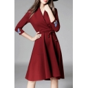 Elegant Chic Embroidery Butterfly 3/4 Length Sleeve High Low Plain Wrap Dress