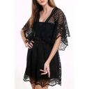 Sexy Lace Hollow Out Batwing Half Sleeve Plunge Neck Plain Rompers