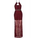 Elegant Halter Sleeveless Cutout Front Plain Lace Maxi Cami Dress