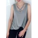 Crisscross Hollow Out V Neck Plain Loose Leisure Tank Top