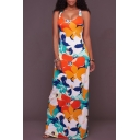 Women's Scoop Neck Crisscross Back Floral Color Block Printed Sleeveless Maxi Dress