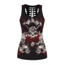 Hot Fashion Skull Queen Printed Scoop Neck Hollow Out Back Sports Tank