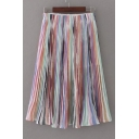 Elastic Waist Rainbow Printed Midi Pleated Layered Skirt