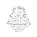 Women's Lapel Single Breasted Cartoon Printed High Low Hem Tunic Shirt