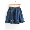 Summer's Floral Embroidered Hem Elastic Waist A-Line Mini Denim Skirt