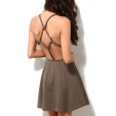 String Knotted Hollow Out Back Plain A-Line Mini Slip Dress