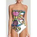 New Fashion Sexy Floral Printed Bandeau One Piece Swimwear