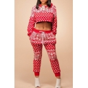 Women's Long Sleeve Cropped Hoodie Sweatshirt with Drawstring Waist Pants Printed Sport Sets