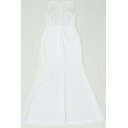 Round Neck Sleeveless Lace Inserted Hollow Out Maxi Evening Dress
