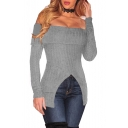 Sexy Off the Shoulder Long Sleeve Cutout Hem Plain Pullover Sweater