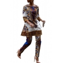 Fashion African Tribal Printed 3/4 Length Sleeve Round Neck Two Pieces Sets