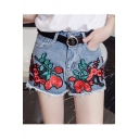 Hot Fashion High Waist Retro Floral Embroidered Fringe Hem Denim Shorts