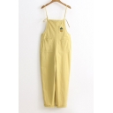 Pineapple Embroidered Spaghetti Straps Leisure Overalls with Pockets