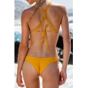New Fashion Plain Hand Knitting Crisscross Back String Side Bottom Bikini Swimwear