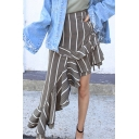 Striped Printed Ruffle Hem Lace Up Side Asymmetrical Skirt