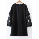 Round Neck Lantern Sleeve Ribbons Cuff Floral Embroidered Mini Shift Dress