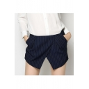 Summer's New Arrival Striped Printed Wrap Front Leisure Shorts Skorts