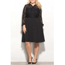 Lapel Collar Long Sleeve Buttons Down Lace Inserted Oversize Midi Dress