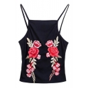 Vintage Floral Rose Embroidered Spaghetti Straps Cami Top