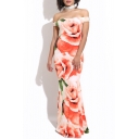 Sexy Off The Shoulder Short Sleeve Floral Pattern Maxi Bodycon Dress