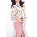 Summer's Chiffon Long Sleeve V Neck Bow Tie Front Elegant Floral Printed Blouse