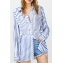 Stylish Bow Side Lapel Collar Long Sleeve Striped Printed Leisure Shirt with Pockets
