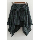 Fake Two-Piece Bow Tie Waist Classic Plaids Printed Mini Asymmetrical Skirt