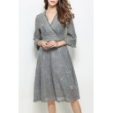 Chic Tassel Trim V Neck 3/4 Sleeve Lace Inserted Elegant A-Line Midi Dress