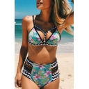 New Arrival Floral Printed Crisscross High Waist String Side Bottom Bikini Swimwear
