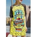 Sheer Mesh Short Sleeve Round Neck Color Block Cartoon Printed Mini T-Shirt Dress