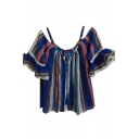 Spaghetti Straps Off The Shuoulder Ruffle Hem Striped Printed Blouse