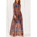 Fashion Tribal Printed Color Block Long Sleeve Round Neck Maxi Dress