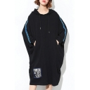 Oversize Leisure Long Sleeve Letter Printed Midi Hoodie Dress with Pockets