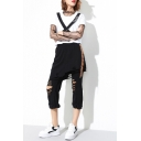 Fake Two-Piece Elastic Waist Summer's Cut Out Leisure Capris