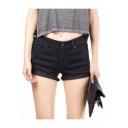 Plain Black Mid Waist Fringe Hem Skinny Denim Shorts