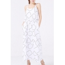 Simple Casual Geometric Printed Straps Sleeveless Maxi Dress with Pockets