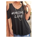 V Neck Cold Shoulder Short Sleeve Letter Printed Casual Loose T-Shirt