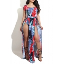 New Fashion Square Neck Short Sleeve Feather Printed Rompers with Slit Swing Back