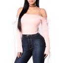 Spaghetti Straps Cold Shoulder Long Sleeve Plain Cropped Slim T-Shirt