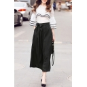 Round Neck Ruffle Hem Pullover Blouse Bow Waist Plain Wide Leg Pants Set