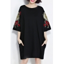 Floral Embroidered Round Neck Half Sleeve Oversize Casual T-Shirt Dress